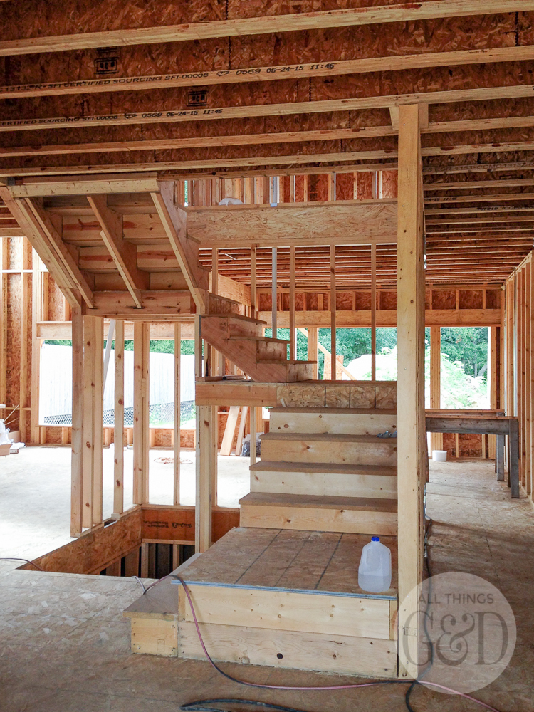 """First floor interior framing for the """"ATG&D Dream Home"""" being built in Cambridge, WI - including a first look at the 3 story open staircase! #ATGDdreamhome"""