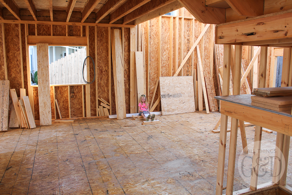 """Second floor framing of the """"ATG&D Dream Home"""" being built in Cambridge, WI - including a first look at the indoor balcony! #ATGDdreamhome"""