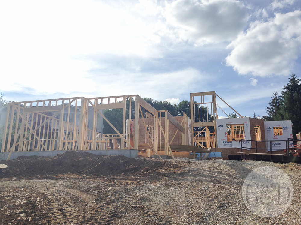 """Framing of the 3 car garage of the """"ATG&D Dream Home"""" being built in Cambridge, WI. #ATGDdreamhome"""