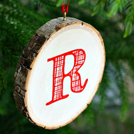 Monogrammed Wood Slice Ornament - All Things G&D