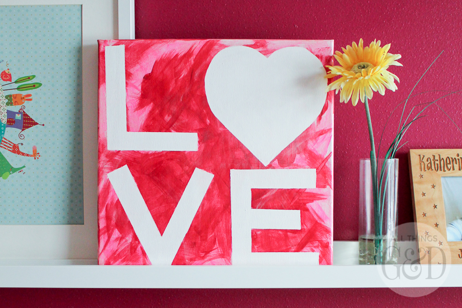 Valentines Day Kids Craft LOVE Canvas
