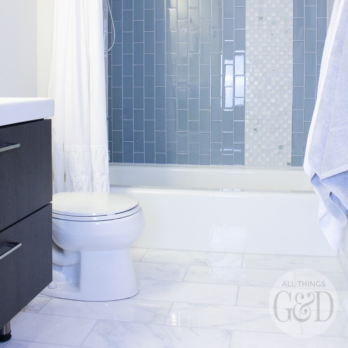 Marble and Glass Tile Bathroom Makeover