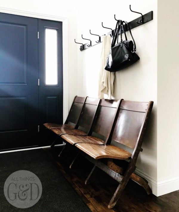 Entryway Antique Church Bench and two sets of IKEA PINNIG hooks. - All Things G&D